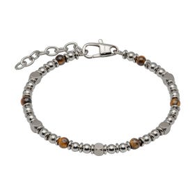 Stainless Steel Bead Bracelet with Brown Tiger Eye