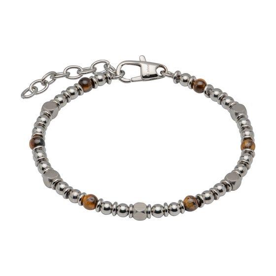 Stainless Steel Bead Bracelet with Brown Tiger Eye