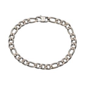 Stainless Steel 7mm Matte & Polished Figaro Bracelet