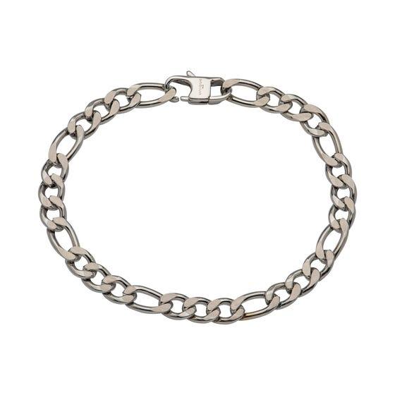 Stainless Steel 7mm Matte & Polished Figaro Bracelet