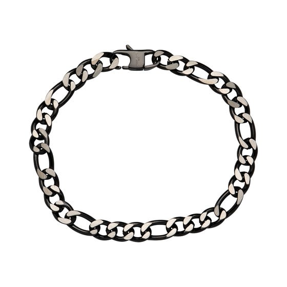 Stainless Steel 7mm Figaro Bracelet with Polished Black Plating