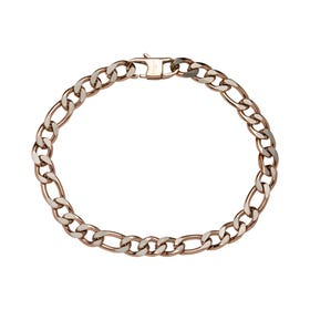 Stainless Steel 7mm Figaro Bracelet with Polished Rose Plating