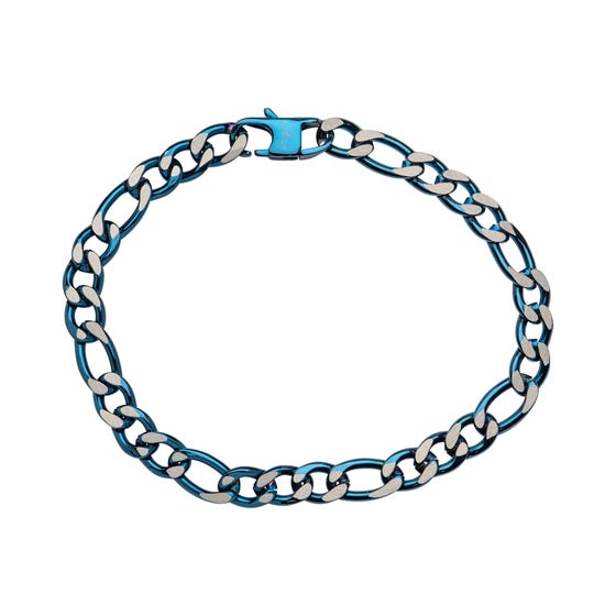 Stainless Steel 7mm Figaro Bracelet with Polished Blue Plating