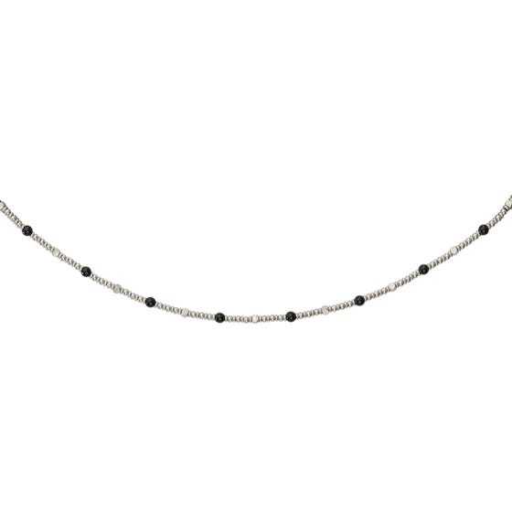 Stainless Steel Bead Necklace with Onyx