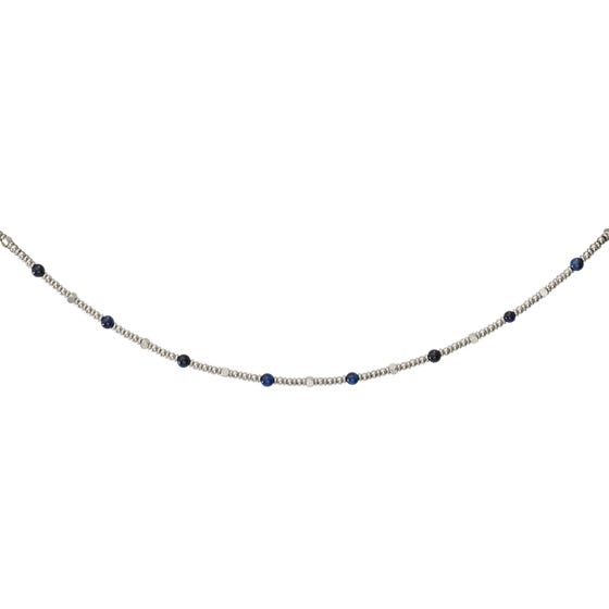 Stainless Steel Bead Necklace with Blue Tiger Eye