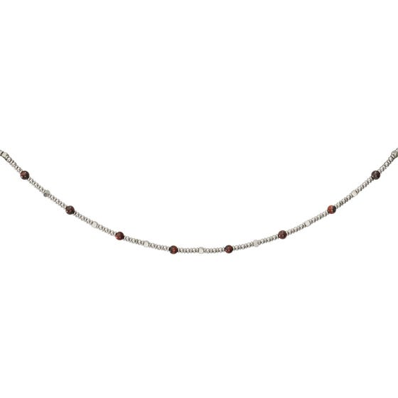 Stainless Steel Bead Necklace with Red Tiger Eye