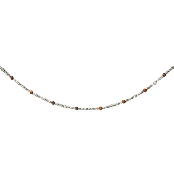 Stainless Steel Bead Necklace with Brown Tiger Eye