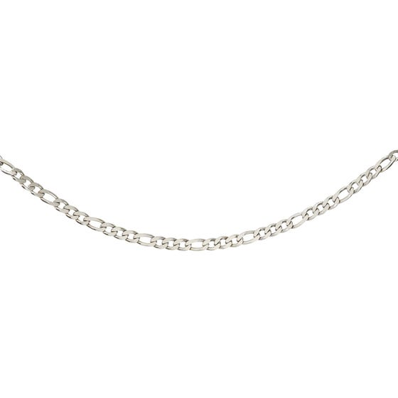 Stainless Steel 7mm Matte & Polished Figaro Necklace