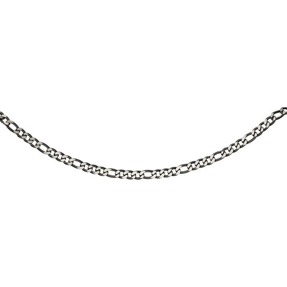 Stainless Steel 7mm Figaro Necklace with Polished Black Plating