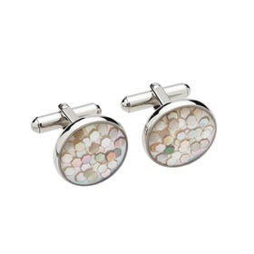 Stainless Steel Cufflinks with Hexagon Mother of Pearl Inlay