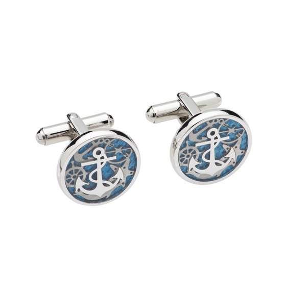 Stainless Steel Anchor Cufflinks with Blue Enamel