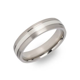 Titanium Ring with 925 Silver Inlay