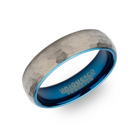 Tungsten Carbide Hammered 6mm Ring with Blue Plating