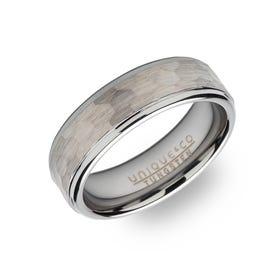 Tungsten Carbide Hammered 7mm Ring