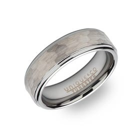 Tungsten Carbide Hammered 7mm Ring
