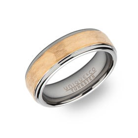 Tungsten Carbide Hammered 7mm Ring with Gold Plating