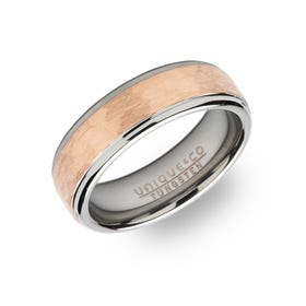Tungsten Carbide Hammered 7mm Ring with Rose Plating