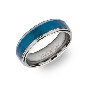 Tungsten Carbide Hammered 7mm Ring with Blue Plating