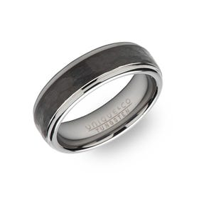 Tungsten Carbide Hammered 7mm Ring with Black Plating