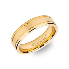 Tungsten Carbide Gold Plated 6mm Ring