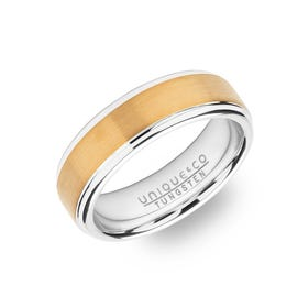 Tungsten Carbide 7mm Ring with Gold Plating