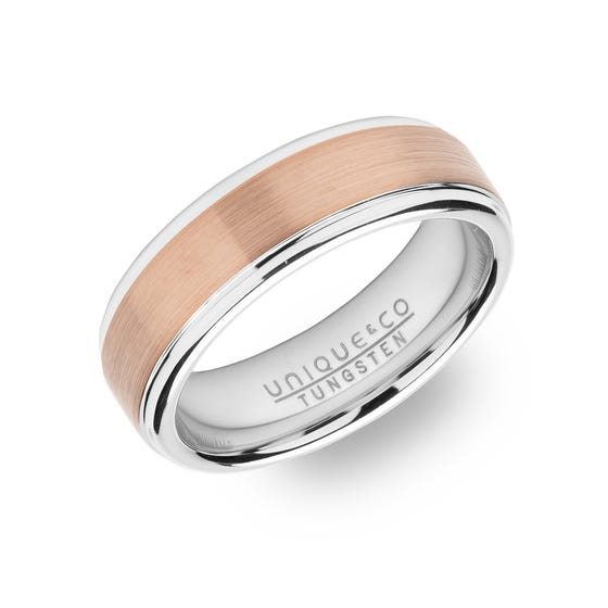 Tungsten Carbide 7mm Ring with Rose Plating