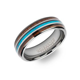 Tungsten Carbide 7mm Ring with Wood Inlay & Blue Enamel