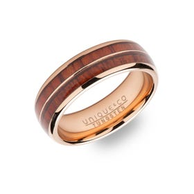 Tungsten Carbide Rose Plated 7mm Ring with Wood Inlay