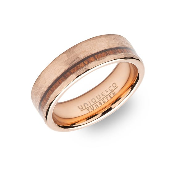 Tungsten Carbide Hammered Rose Plated 7mm Ring with Wood Inlay