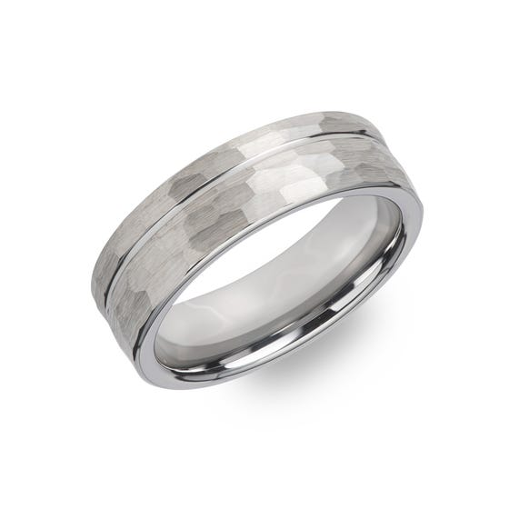 Tungsten Carbide Hammered Stripes 7mm Ring