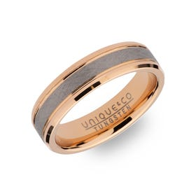 Tungsten Carbide 6mm Ring with Rose Plating