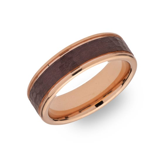 Tungsten Carbide Hammered 6mm Ring with Rose & Brown Plating