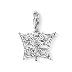 Silver Butterfly, Star & Moon Charm