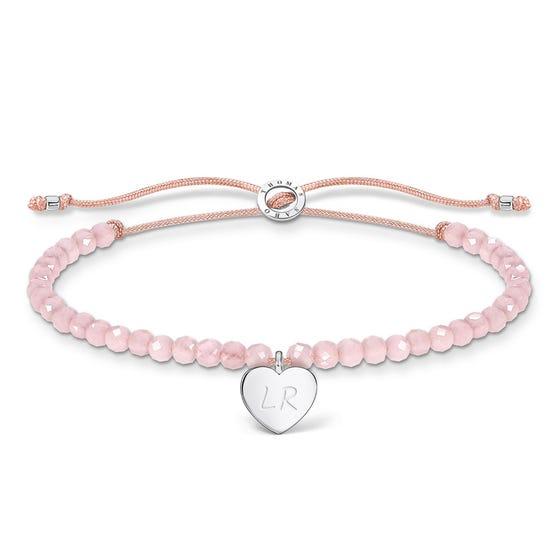 Silver Heart & Pink Beaded Bracelet