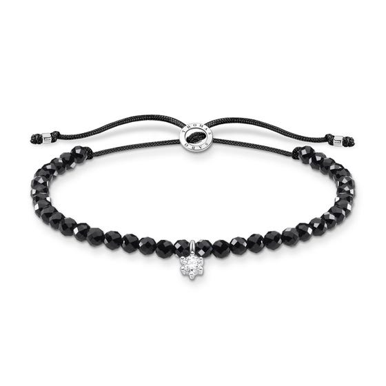 Silver & CZ Black Beaded Bracelet