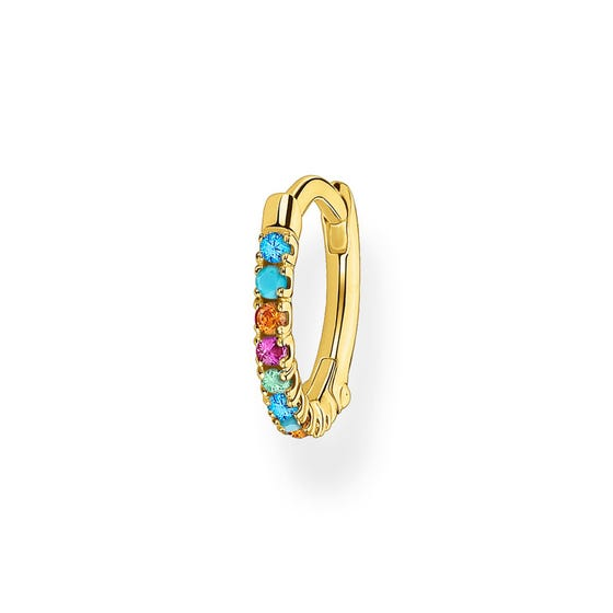 Gold Plated Colourful Small Single Hoop Earring