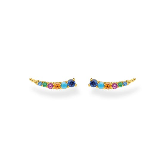 Gold Plated Colourful Curved Climber Earrings