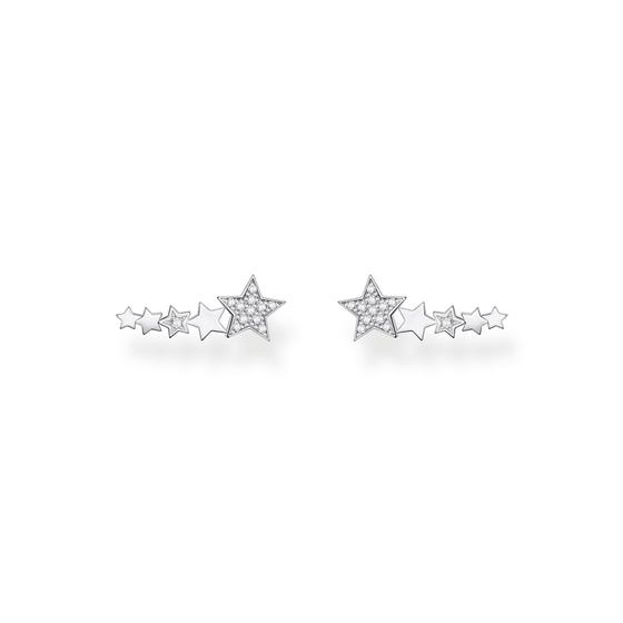Silver Star Climber Earrings