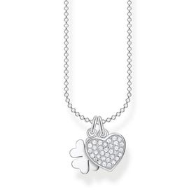 Silver Pave Heart with Cloverleaf Necklace