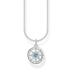 Silver Turquoise Compass Necklace