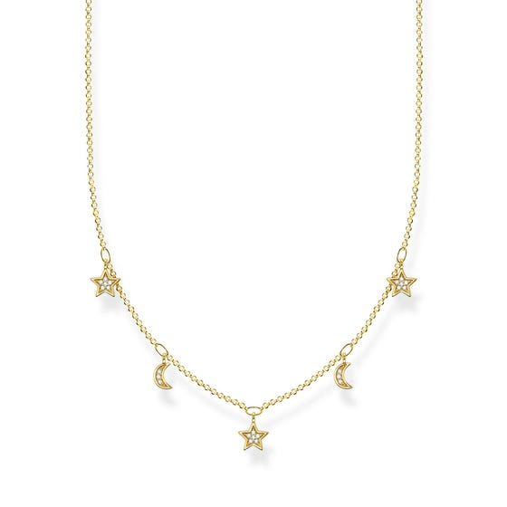 Gold Plated Crescent Moons & Stars Necklace