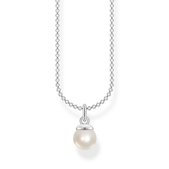 Silver Single Pearl Drop Necklace