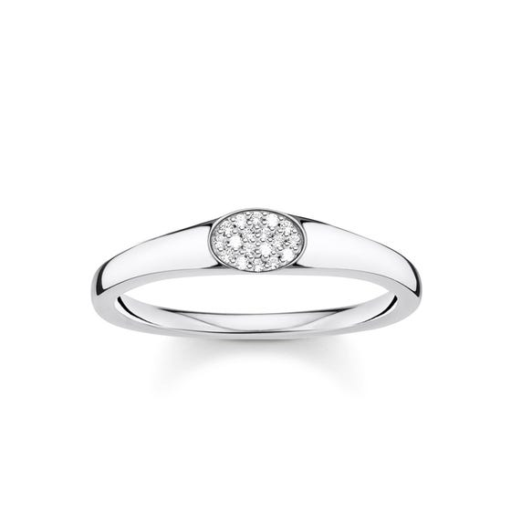 Silver Oval Zirconia Pave Ring