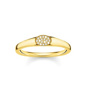 Gold Plated Oval Zirconia Pave Ring