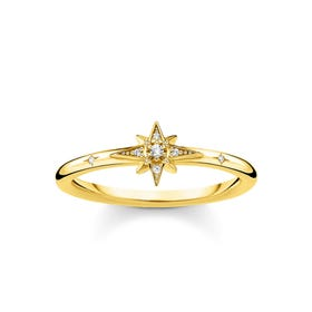 Gold Plated Pave Star Ring
