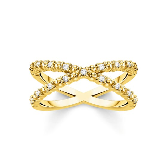 Gold Plated Dots & Zirconia Twist Ring