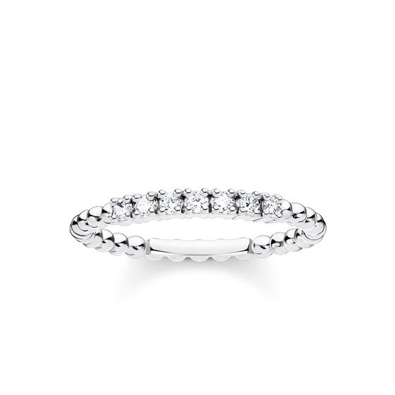 Silver Dots & Pave Zirconia Ring