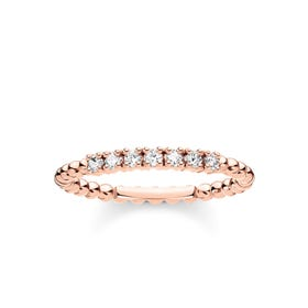 Rose Gold Plated Dots & Pave Zirconia Ring