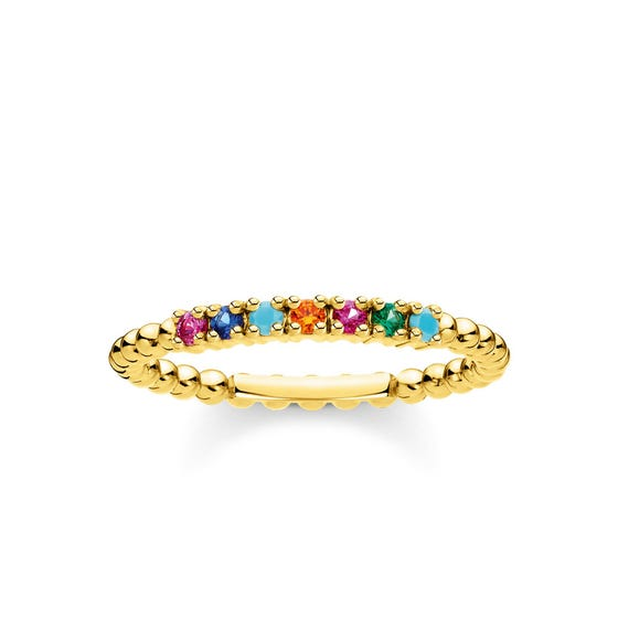 Gold Plated Dots & Colourful Zirconia Ring