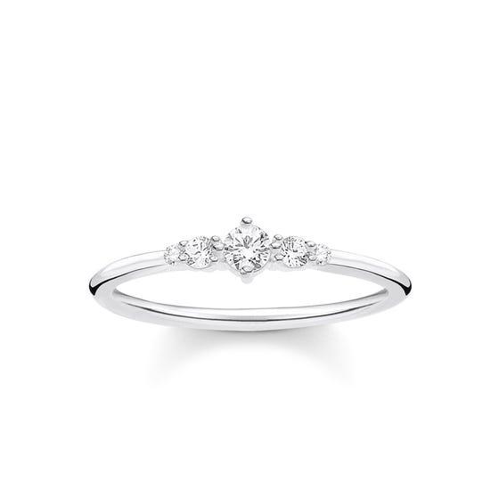 Silver & Graduated Zirconia Vintage Ring